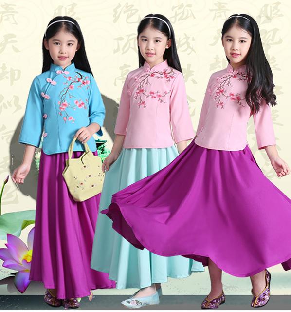 Novo Chinês das Crianças Perca Girl Traje Da República Da China Vestido de Princesa Crianças Ming Hanfu Roupas Traje Chinês Antigo