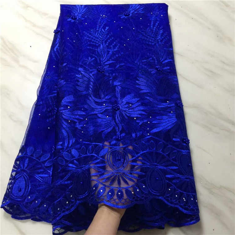 Royal Blue Latest African Stones Laces Fabrics Embroidered 2019 High Quality French Lace Fabric Nigerian Net tulle Lace Fabric