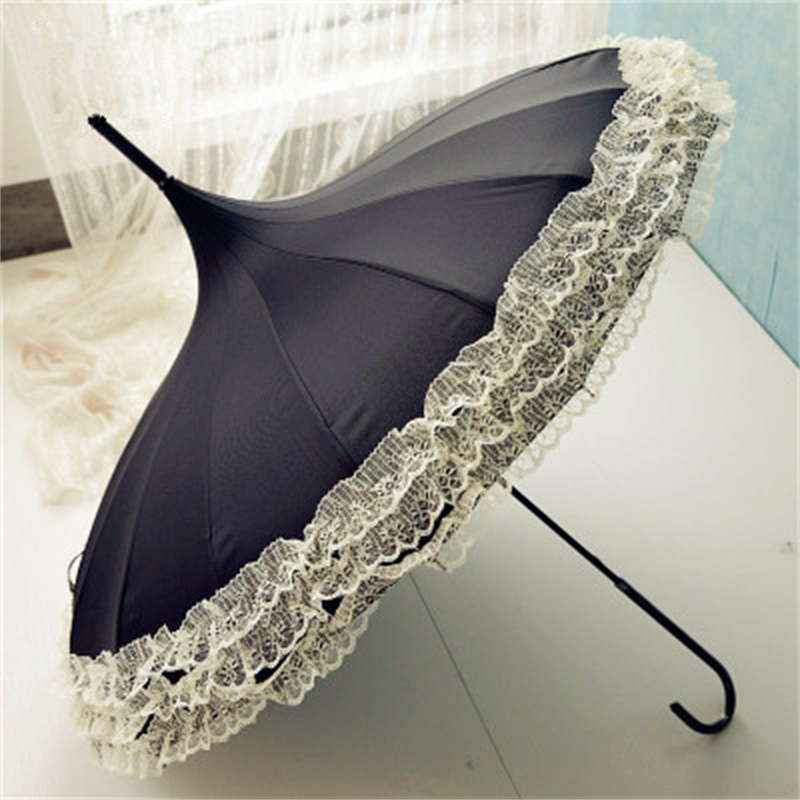 Women Fashion 16 Ribs Lace Pagoda Parasol Princess Long handle Umbrella Windproof Sunny and Rainy Umbrella