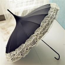 Women Fashion 16 Ribs Lace Pagoda Parasol Princess Long-handle Umbrella Windproof Sunny and Rainy Umbrella