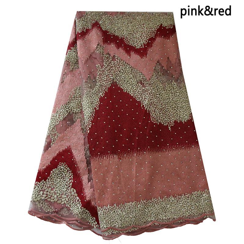 Ourwin Räumung Viel Steine Weiche Material Tüll Spitze Stoff Lila Lila Gold Net Spitze Stoff für Einzigartige Party Kleid