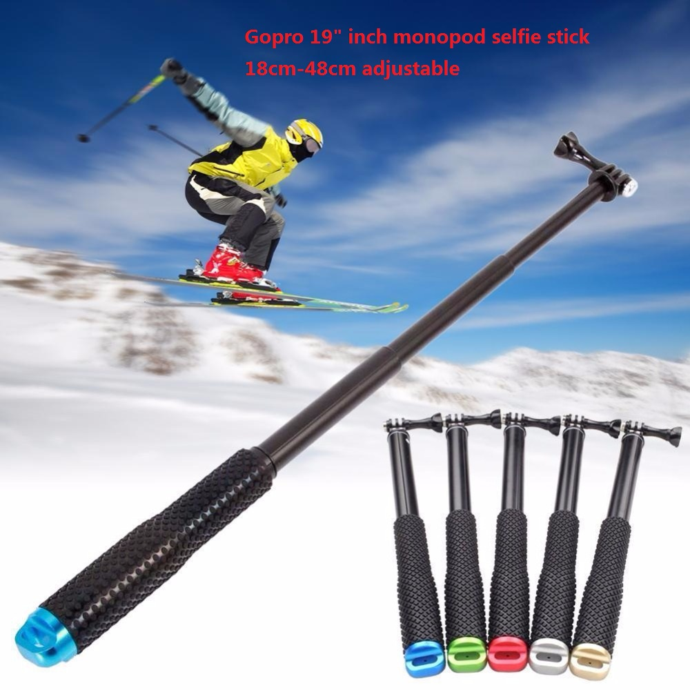 GoPro 19 Inch 17-48CM Extendable Pole Selfie Stick Handheld Monopod with Mount Adapter for GoPro 2 3 3+ 4 SJ4000 SJ6000 XiaoYi
