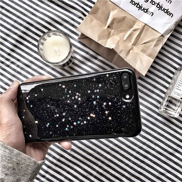 cheap for discount 2d987 9784d US $4.9 |ZMDLDZSW Cute Fashion Black Shinny Glitter Stars Soft Back Cover  For iPhone 6 6S plus 7 plus 8 plus Stylish Nice Phone Case Girl-in Fitted  ...