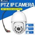HD 2MP 1080 P de Alta Velocidade PTZ IP Câmera Ao Ar Livre ZOOM Óptico de 18X Zoom IR 120 m Onvif À Prova D' Água Câmera De Segurança Com Áudio de 7 Polegada entrada