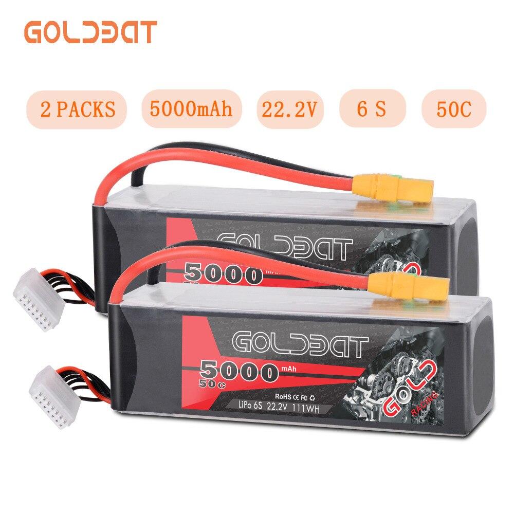 2 unités GOLDBAT 5000mAh LiPo batterie 22.2V 6S LiPo batterie pour RC voiture LiPo 5000mah 6S lipo 50C avec XT90 pour RC hélicoptère voiture bateau