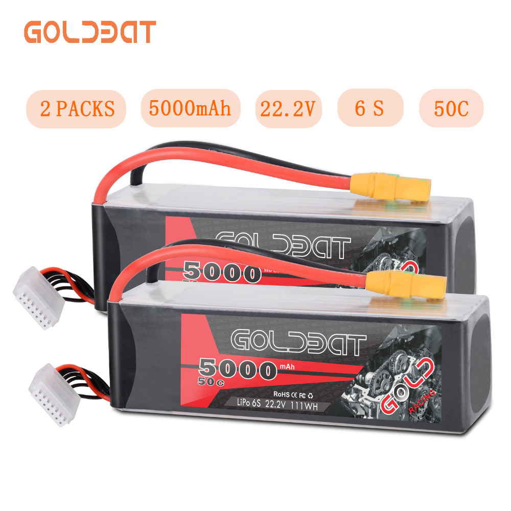 2units GOLDBAT 5000mAh LiPo Battery 22.2V 6S LiPo Battery for RC car LiPo 5000mah 6S lipo 50C with XT90 For RC Heli Car Boat image
