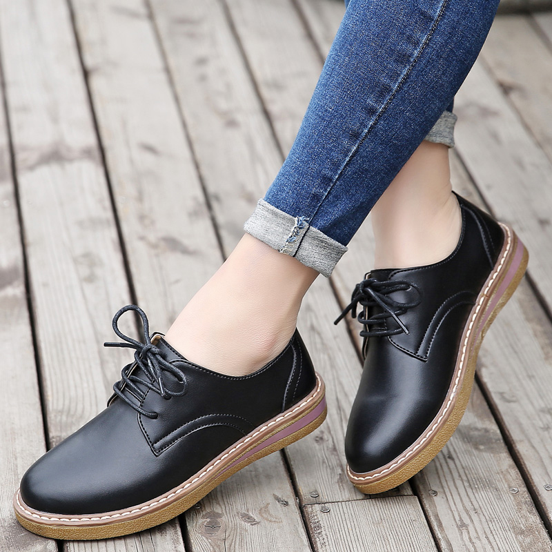 YZHYXS Femmes Oxford Chaussures Appartements Casual Chaussures Pu Cuir à Lacets Bout Rond Plat Talon Chaussures D