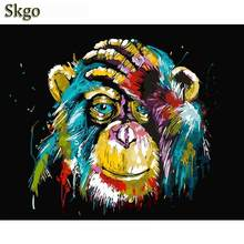 2018 Frameless Baboon Animal DIY Painting By Number Wall Art Picture Paint By Number Canvas Painting For Home Decor Artwork(China)