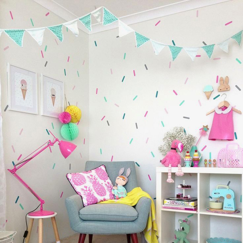 Baby Girl Room Sprinkles Wall Stickers Kid Decal Art Nursery Holiday Party Bedroom Vinyl Decals Wall Sticker For Kids Room