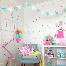 Baby Meisje Kamer Sprinkles Muurstickers Kid Decal Art Nursery Holiday Party Slaapkamer Vinyl Decals Muursticker Voor Kinderkamer(China)