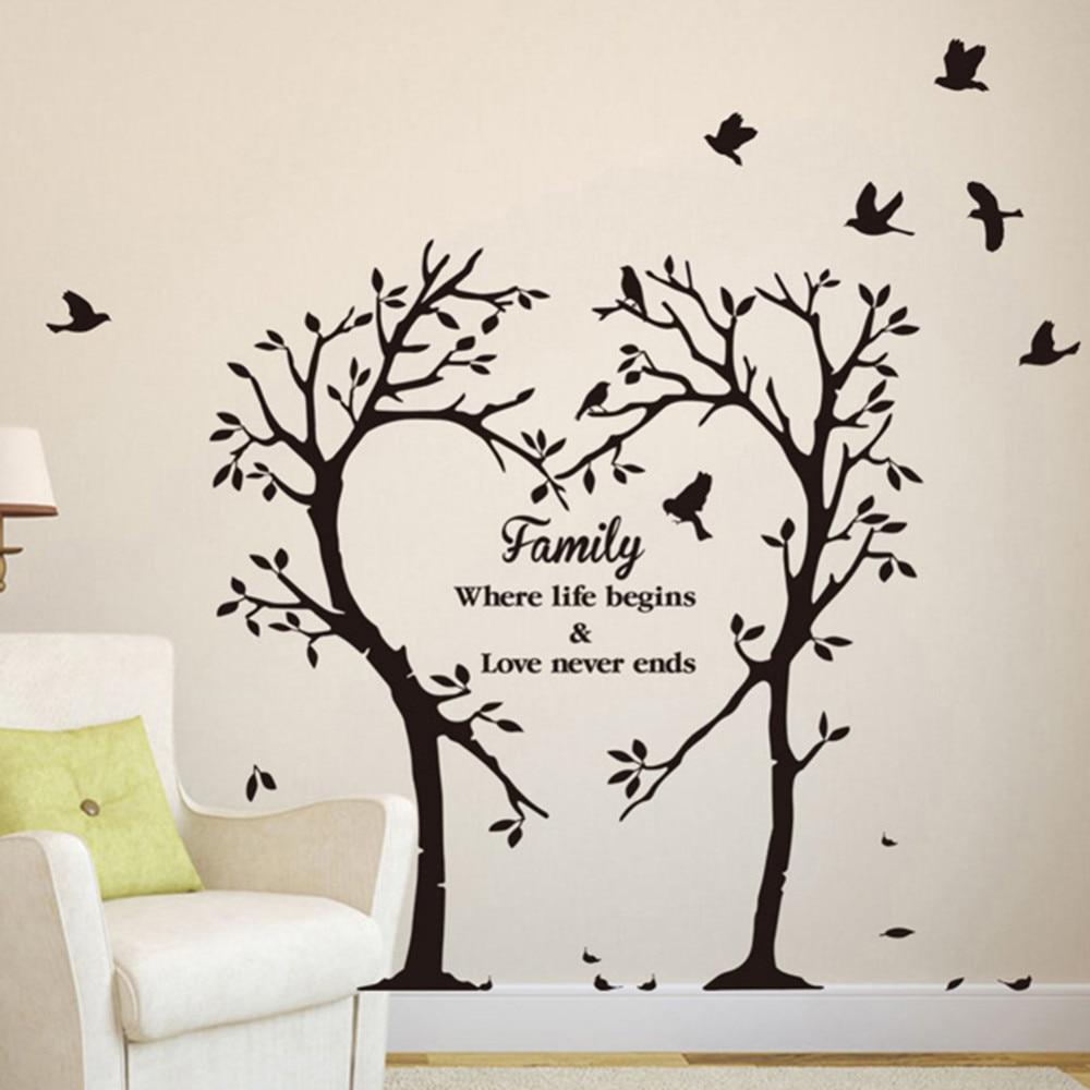 Innovative Family Words Wall Sticker Heart Shaped Tree