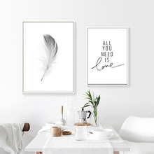 Black And White Posters Prints Nordic Art Poster Feather Picture Painting Quote Minimalistic Wall Unframed