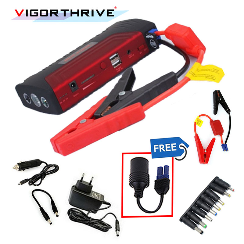 high quality Jump Starter Car Emergency For Gasoline Cars Power bank with 2 USB Port with pump for phone computer