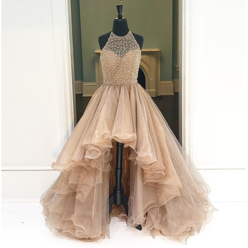 Halter Beading Prom Gowns High Low Floor Length Tulle Formal Party Dress Gorgeous Ruffled Fashion Evening