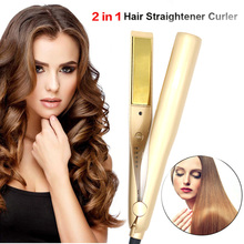 Professional Hair Straightener 2 In 1  Ceramic Hair Curler Electric Digital Temperature Control  Beauty Curling Irons Flat Iron