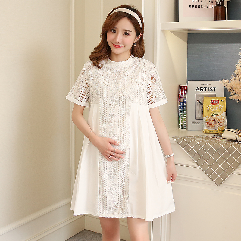 Summer Lace Maternity Dress Embroidery Pregnancy Clothes Loose Casual Cotton Maternity Clothing Of Pregnant Women Vestidos