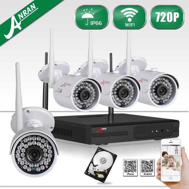 Anran hd 4ch wifi sistema nvr 720 p cctv impermeable al aire libre de la visión nocturna de vigilancia de seguridad kit de 1 tb hdd seleccionable