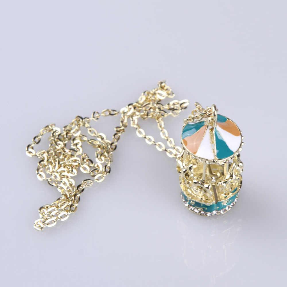 Drop Shipping uroczy nowy biżuteria akcesoria karuzela w kształcie długa kroplówka ze stopu naszyjnik łańcuch sweter NL-0859