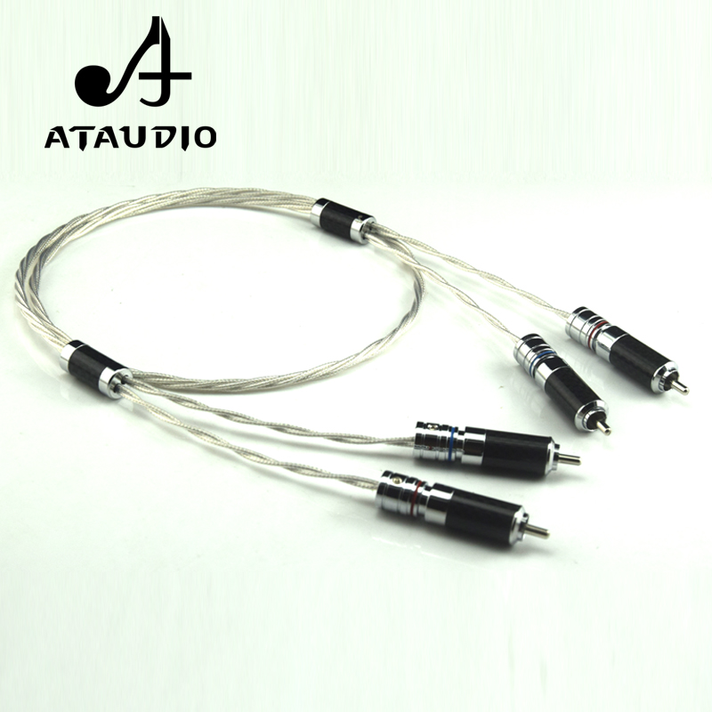 ATAUDIO Hifi Silver Plated RCA Cable High Quality 2RCA Male to 2RCA Male  Cable ATAUDIO Hifi Silver Plated RCA Cable High Quality 2RCA Male to 2RCA Male  Cable