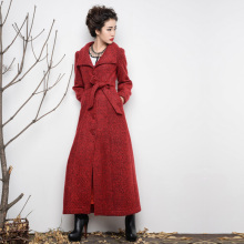 2017 New arrival winter long jacket women turn down collar cashmere wool coat plus size XXXL,4XL long trench coat woolen jacket
