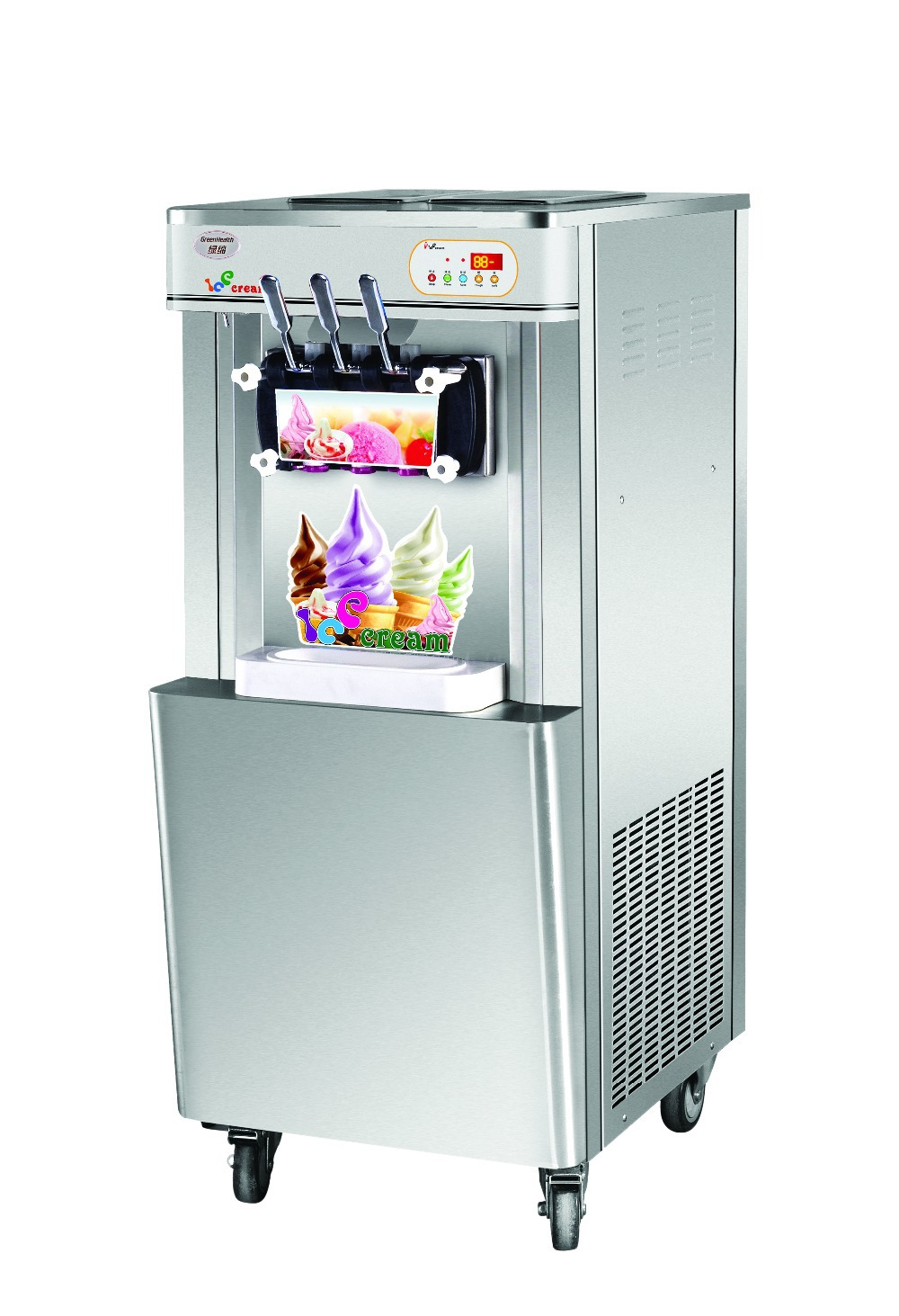 Super quality 25L free standing Ice cream making machine commercial soft ice cream maker with rainbow system and moving wheel