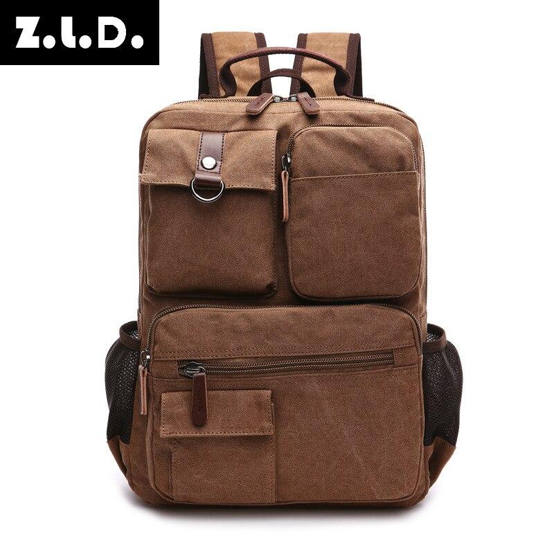 цена на New Style Men's Shoulder Pack Korean Style High School Students' Canvas Leisure Bag Computer Backpack