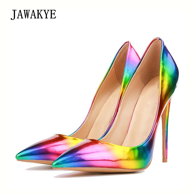 JAWAKYE Rainbow high heels Women pumps Pointed toe Stiletto Party shoes  ladies Gradient high heeled Shoes bright Wedding Shoes-in Women s Pumps  from Shoes ... d3d23e8923c9