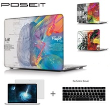 POSEIT For for Macbook Pro 15 A1707 Touch Bar A1706/8 2016 Air 11 12 13 Pro 13 15 Retina Laptop Shell+Keyboard Cover+Screen Film недорого
