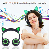 Cute LED Light Cat Ears Headphones Luminescence Folding Earphone Gaming Headset for PC Laptop Computer Mobile Phone Perfect Gift