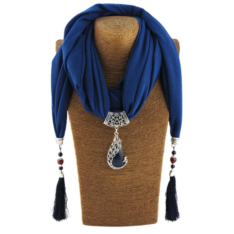 Vintage Scarf Necklace Natural Stone Peacock Pendant For Women Fringe Tassel Necklaces 2018 New Statement Jewelry Bijoux