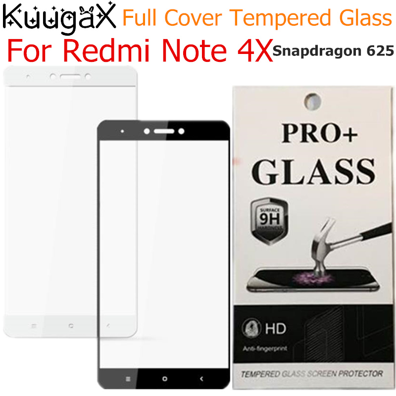 For Xiaomi Redmi Note 4X Global Version Full Cover Tempered Glass Snapdragon 625 9H screen protective black 3GB 32GB display on
