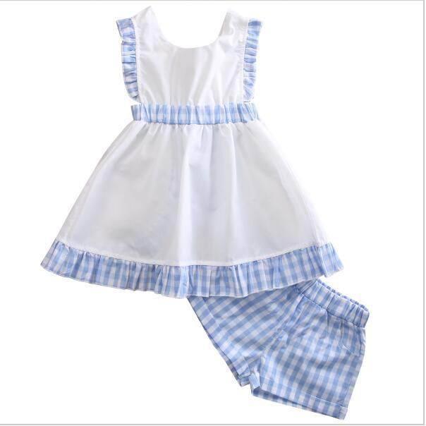 2017 Girls Childrens Clothing Sets Plaid Dresses Shorts 2Pcs Set Summer Sleeveless Dress Kids Enfant Boutique Clothes SH009