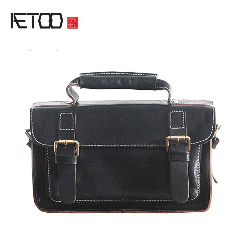 AETOO Original new fashion leather handmade handmade planted tannery cowhide shoulder shoulder oblique cross