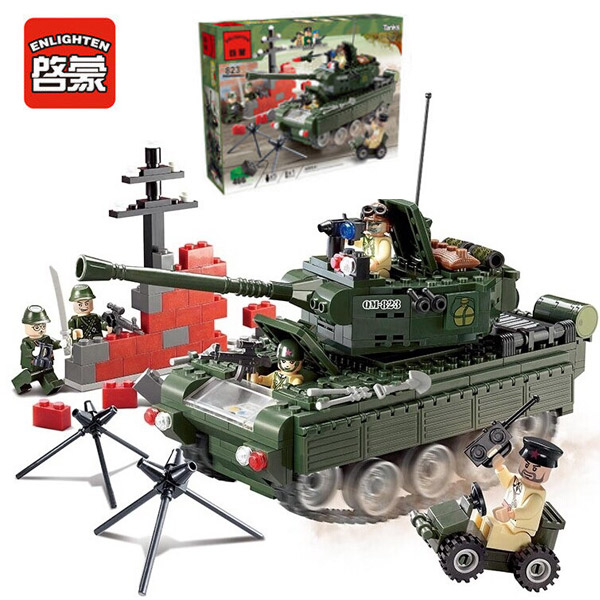 Enlighten 823 Combat Zones Modern Military Army Tank SWAT Model Bricks Building Block Toys For Gift enlighten 1406 8 in 1 combat zones military army cars aircraft carrier weapon building blocks toys for children
