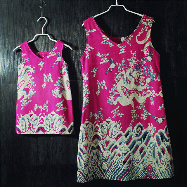 Summer Brand design loose style Dragon Totem print Sleeveless skirts mother daughter dress beach holiday children girls sundress
