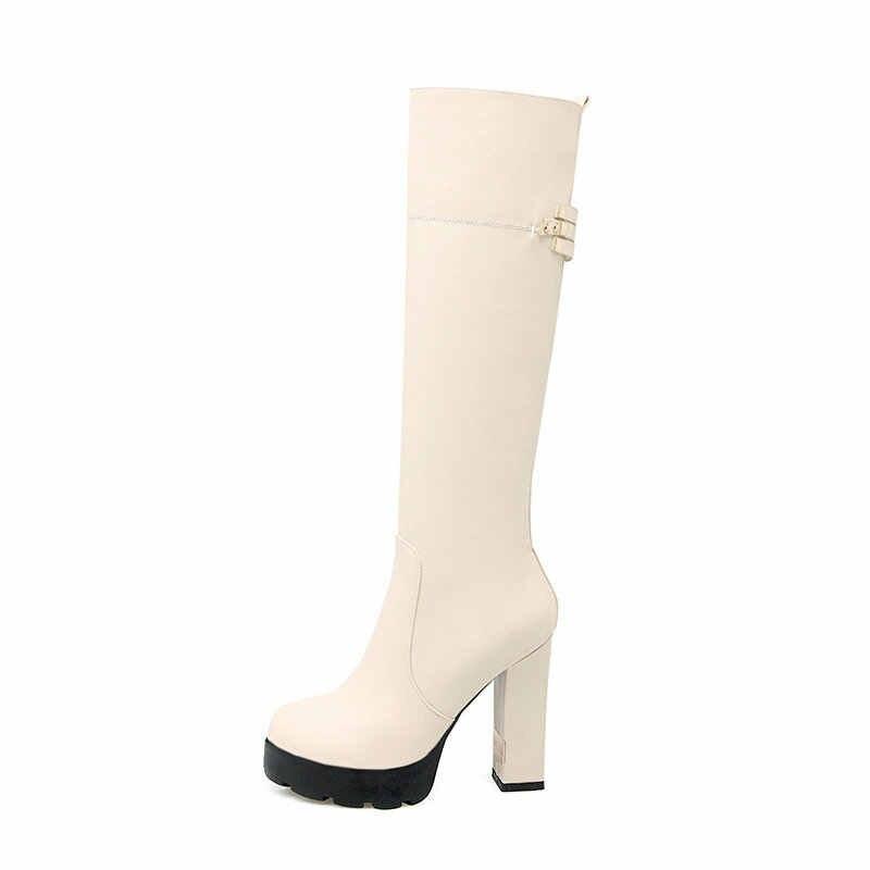 Kadın Yan Zip Kalın Yüksek Topuk Diz Yüksek Çizmeler Kış Platformu Kadın Moda Botları Sonbahar Kış Kadın Ayakkabı Kayısı Beyaz siyah
