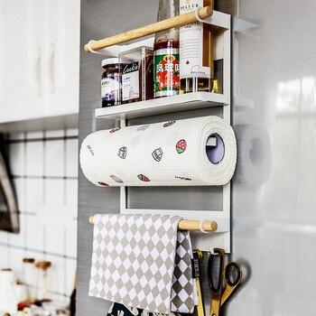 Multi-function shelf free punching magnetic refrigerator paper towel rack seasoning towel rack wall hook wx7021346