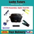 6 unids/set Asamblea FTTH Fibra Óptica Kit de Herramientas De Fibra con Fibra Cleaver Stripper CFS-2 Miller Visual Fault Locator 5 KM 1 mw