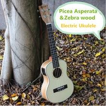 Tenor Soprano Concert Ukulele 21 23 26 Pulgadas de Mini Guitarra Eléctrica Acústica Ukelele Guitarra Picea Asperata Zebra Wood Plug-en Uke