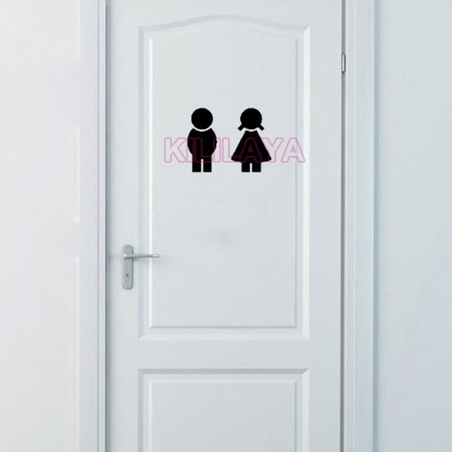 sticker cute boy and girl toilet door sign bathroom sign vinyl wall stickers toilet wall decal - Girl Bathroom Sign