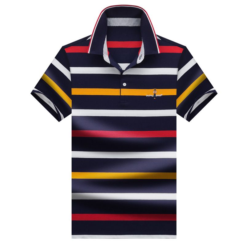 Summer tee shirt homme Brand Tace & Shark   polo   shirt men high quality lapel striped   polo   man 2019 short sleeve 3D Embroidery