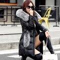 O novo couro Haining blusão longo Casaco de couro das senhoras Das Mulheres Tamanho de pele de raposa casaco de pele de carneiro
