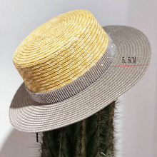 Summer Flat Top Chapeu Feminino Women Beach hat Shining Wide Brim Matches  Color Ladies Straw Sun 1b89a63c50d6