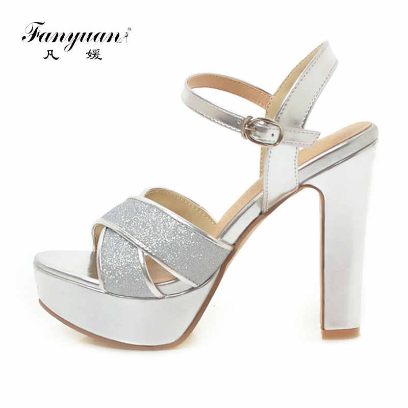 Fanyuan Women Sandals Shoes Summer High Heels Sexy Glitter Platform Sandals Women  Rhinestone Sandals Ladies Party 83bcbb1457e7