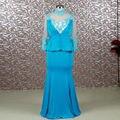 RSE679 Alta Neck Mãe Dos Vestidos de Noiva Plus Size Até O Chão Azul Com Mangas