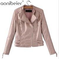 Aonibeier Gold Silver Bright Ladies Coat Fashion Cool Mandarin Collar Locomotive Jacket Autumn Slim Long Sleeve Short Tops
