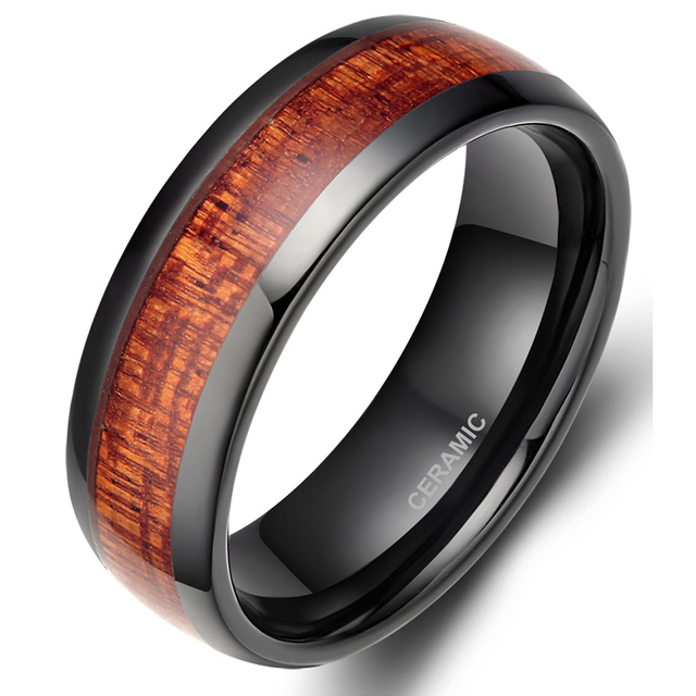 TIGRADE 8MM Black Red Wood Grain Ceramic Ring Men Wedding Band Classic Finger Jewelry Cool Male Rings For Party Gift