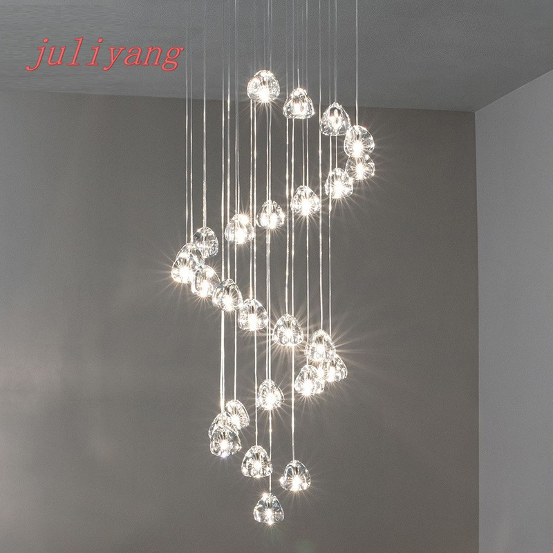 juliyang Designer Cherry Crystal Nordic Restaurant Living Room Hotel Hall Creative Personality Staircase pendant lamp modern circle tree branch led pendant light creative personality firefly dia 210cm nordic living room restaurant hall lobby lamp