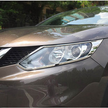 For Nissan Qashqai 2016 2017 ABS Chrome Front Headlight Lamp Cover Trim Hood Moulding Exterior Car Stickers 2pcs