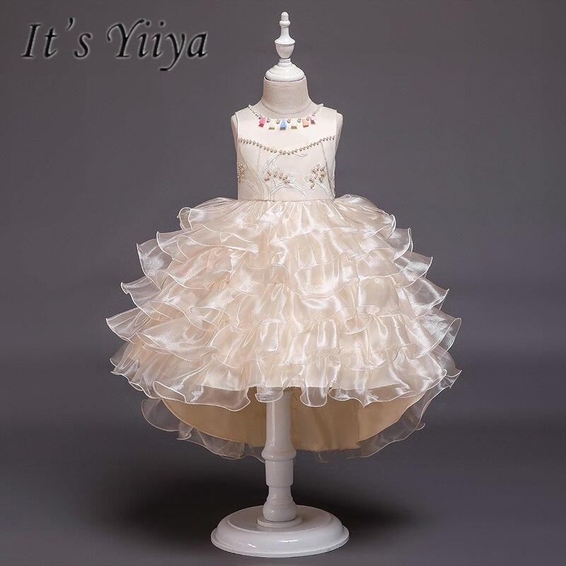 It's YiiYa   Flower     Girl     Dresses   5 Colors Court Train O-Neck Floor Length   Girls   Pageant   Dresses   Vestidos De Noches Para Ninas 851